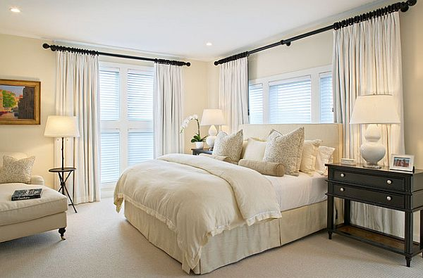 airy bedroom design with many shades of white