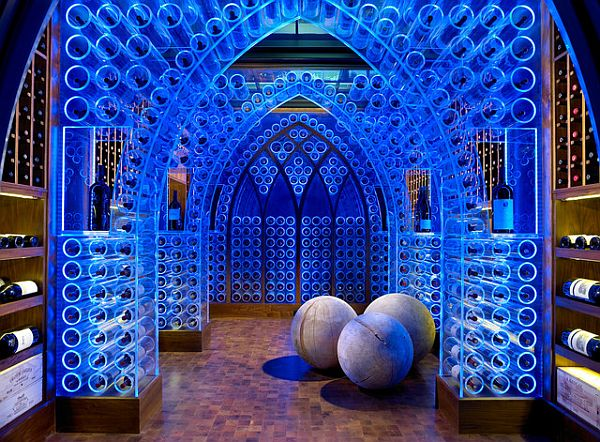 amazing wine cellar with blue LED lighting