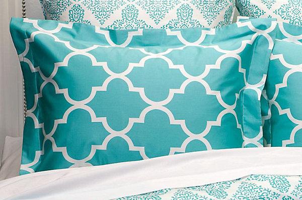 aqua geometric modern bedding