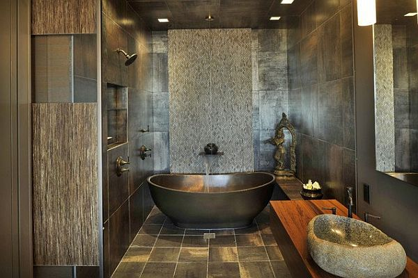 asian inspired bathroom with fancy tiles
