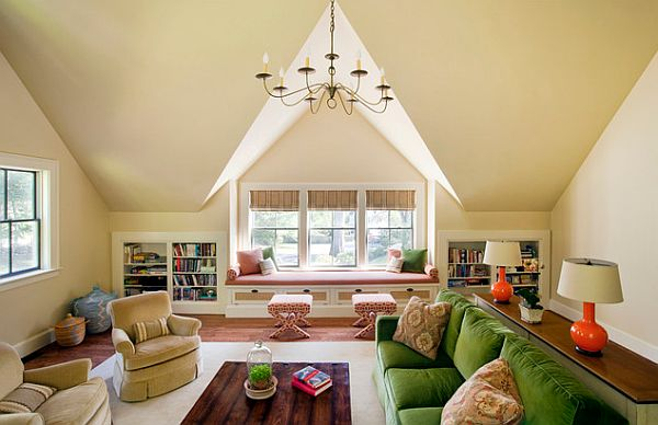 attic makeover colorful living room conversion Attic Conversion Ideas for a Flawless Makeover