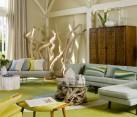beach house yellow living room with caribbean design