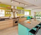 beach inspired colorful kitchen design