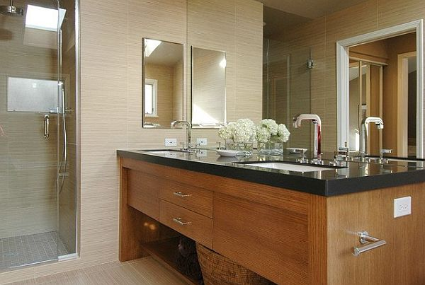 beautiful bathroom design with golden oak with black counters