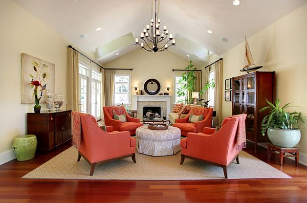 beautiful living room with shades of coral chairs 5 Fast and Inexpensive Home Makeover Ideas
