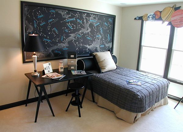 decorating with a space theme. Black Bedroom Furniture Sets. Home Design Ideas