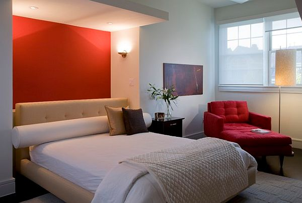 bedroom design with red wall behind bed decoist