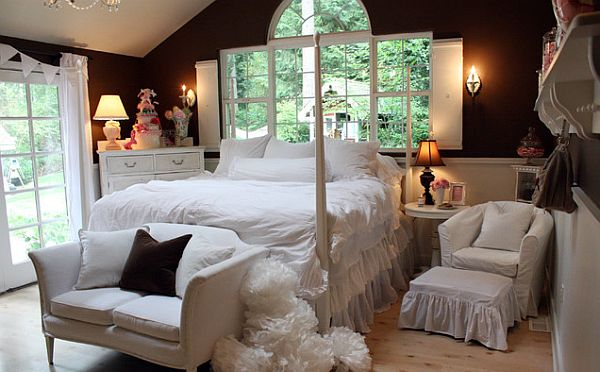 bedroom with fluffy white bed and nightstands