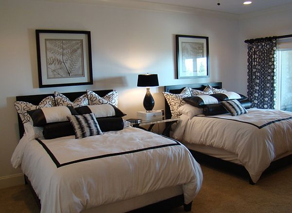 black and white guest room with twin beds - Guest Bedroom Design