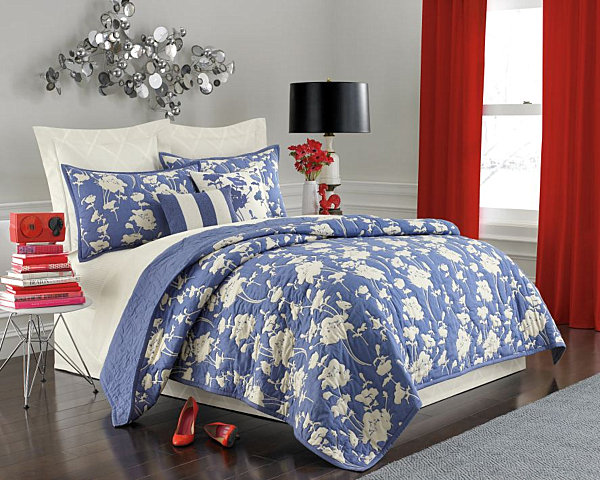 blue and white floral bedding
