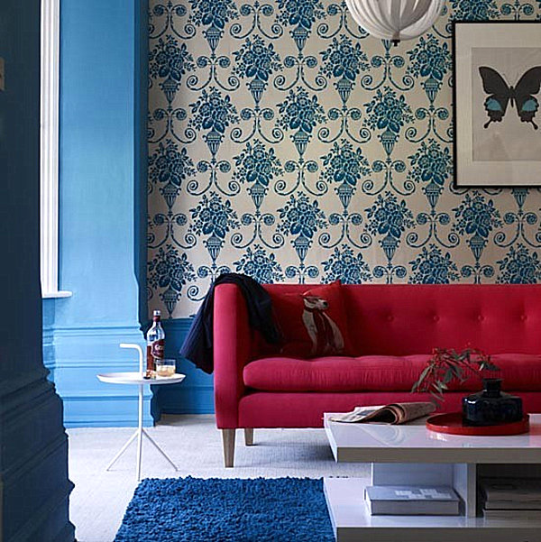 blue damask living room