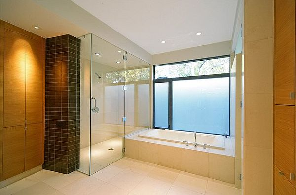 bright bathroom design with floor tile