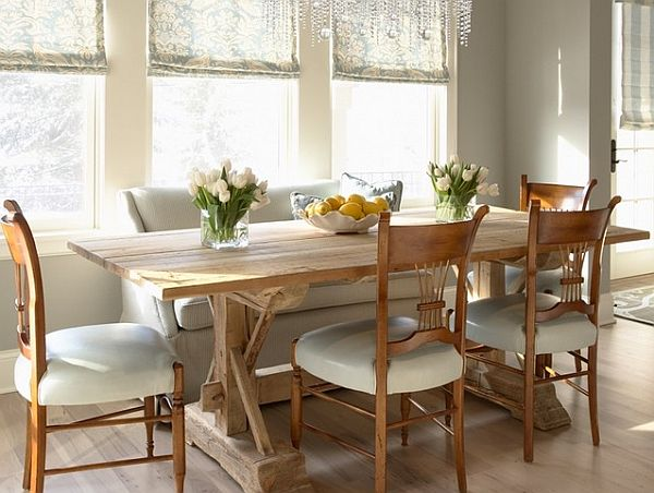 Decorating with a country cottage theme for Simple dining room decor ideas