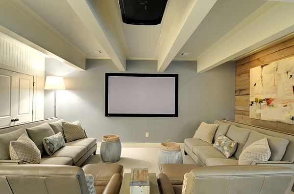 View In Gallery Beautiful Home Theater Room With A Modern Tinge / By  Brandon Architects View In Gallery Bright ...