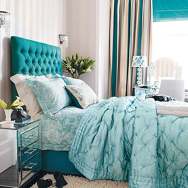 bright teal blue bedroom