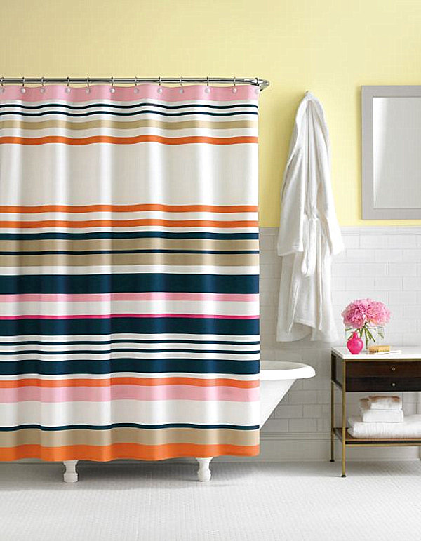 The Candy Shop Stripe Fabric Shower Curtain Is Anchored By Navy Lines. Add  In Dessert Y Shades Of Pink And Orange, And You Have A Vibrant Color Scheme  ...