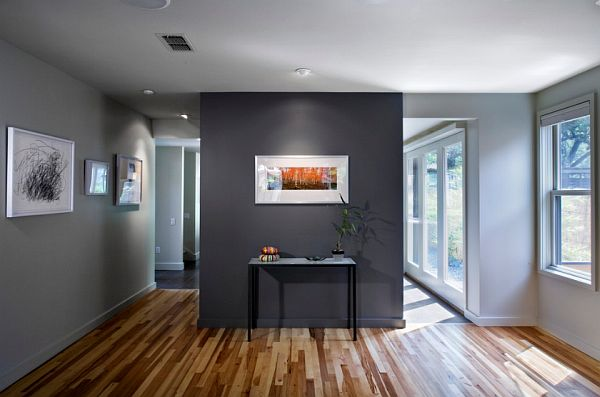 charcoal black – accent in a lighter gray room