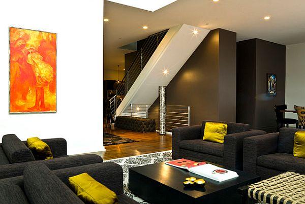 charcoal black walls and sofa