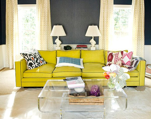 charcoal black walls and yellow sofa design