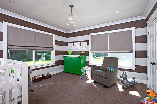 Hand painted horizontal stripes in brown and white for the child room