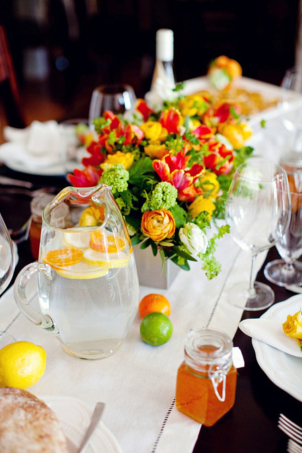 citrus theme table setting