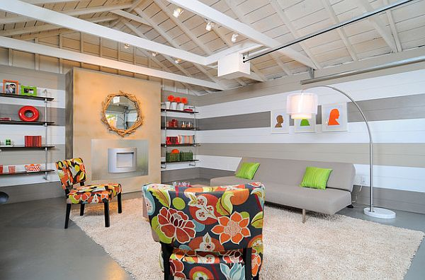 Decorating with stripes for a stylish room for Pictures of painted garage walls