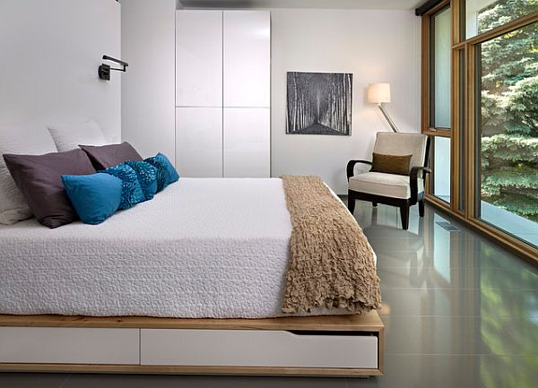 contemporary bedroom with under bed storage space