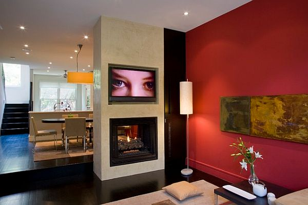 contemporary living room with red wall decor