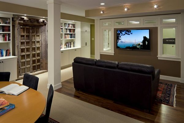 contemporary media office in the basement