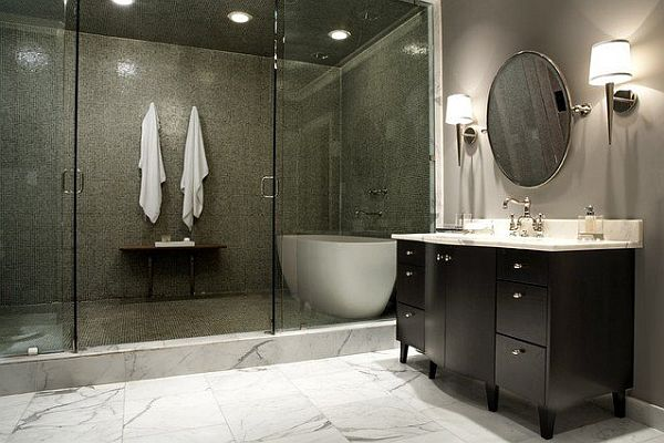 contemporary shower room with modern tile