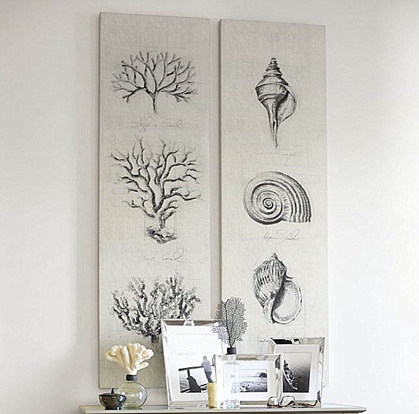 coral and shell botanical artwork