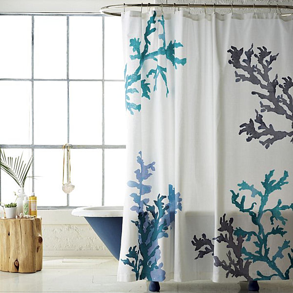 Command Strip Curtain Rod Blue and Taupe Shower Curtain