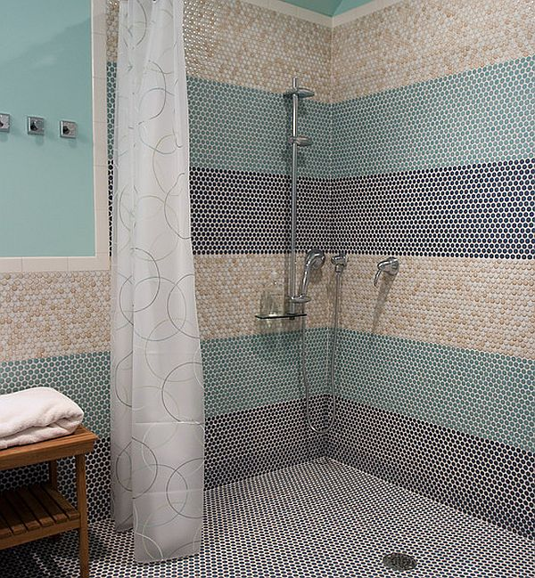 door less shower with penny tiles Doorless Showers: How to Pull Off the Look