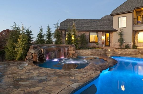 eclectic home with spa and waterfall