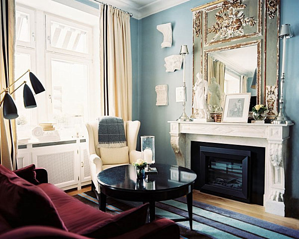 elegant light blue living room