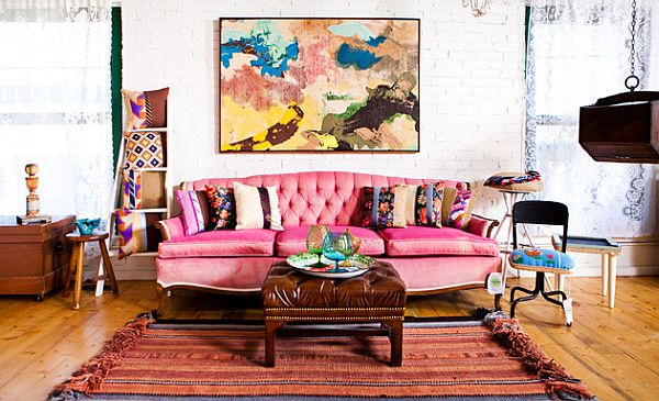 fancy living room with pink couch