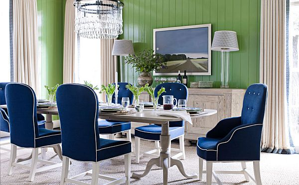 View In Gallery Green Wall Dining Room With Navy Blue Chairs