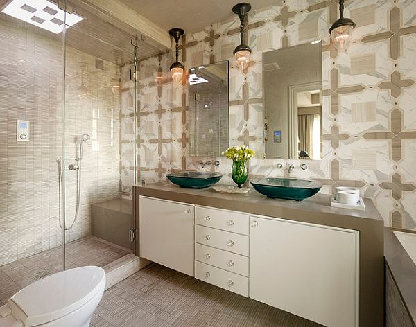 high tech shower with beautiful tile wall with the vanity