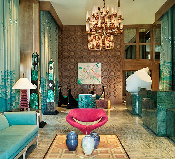 kelly wearstler hotel design malachite Let It Sparkle: Decorating with Minerals