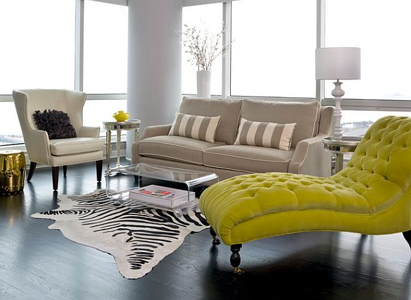 lime green chaise lounge in living room