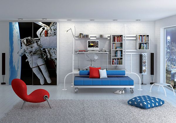 Living room decorating with a space theme