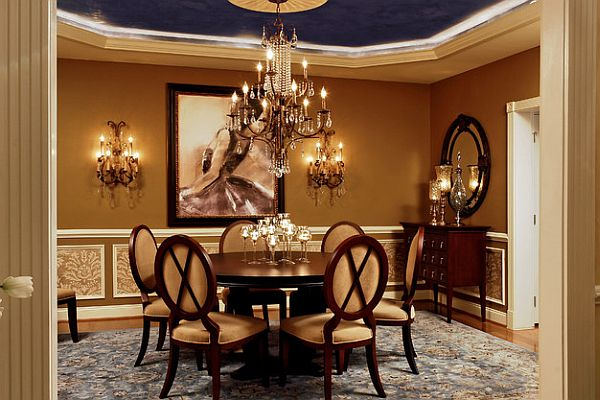 luxury dining table with navy blue ceiling