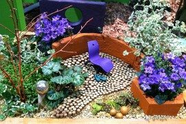A miniature garden looking like a highly colored