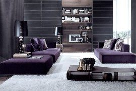 minimalist living room with purple modular sofa