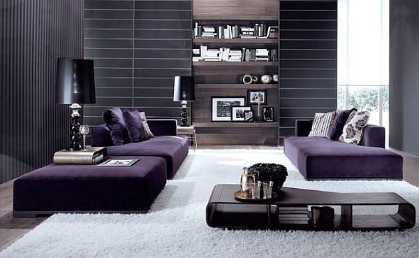 minimalist living room with purple modular sofa