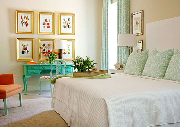 mint green and orange bedroom