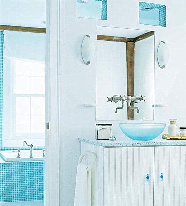 Beach house baths on pinterest beach bathrooms blue for Aqua blue bathroom accessories