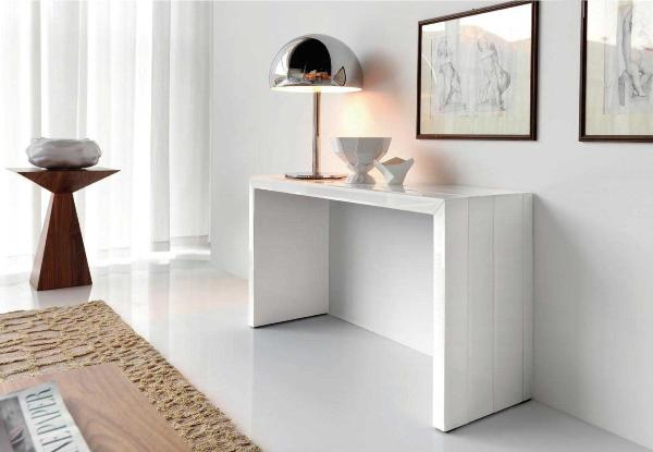 modern console table and metal lamp