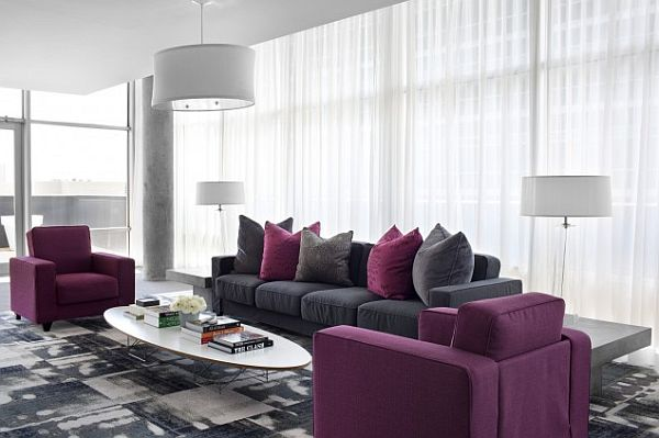 Decorating with purple purple rooms designs for Purple and grey living room decorating ideas