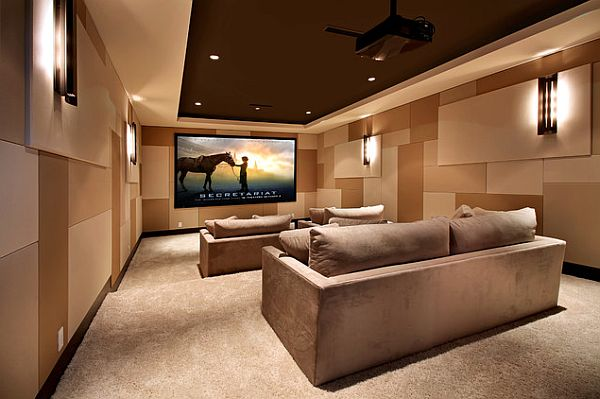Home Theater Room Design Ideas interesting home theater design ideas with grey linen cinema seats theater room light fixtures interior imgenes theater room ideas home cinema imgenes por View In Gallery Modern Home Media Room 9 Awesome Media Rooms Designs Beautiful Home Theater